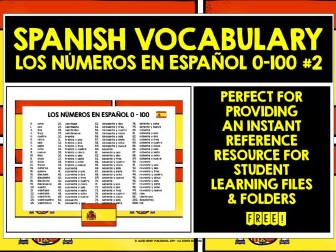 SPANISH NUMBERS 0-100 REFERENCE MAT #2