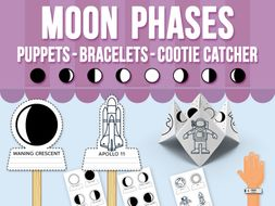Moon Phases Stick Puppets, Bracelets and Cootie Catcher