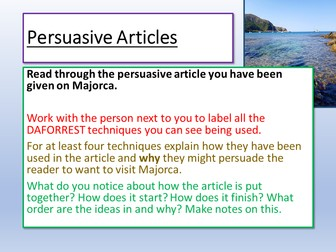 Travel Writing - Persuasive Articles