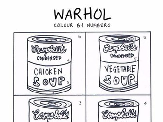 WARHOL Pop Art Colour by Numbers Activity Sheet