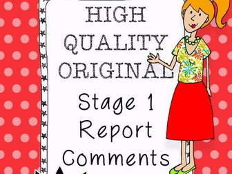 High Quality - Original - Report Comments for Stage 1