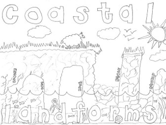 Geography Revision Colouring Page: Coastal Landforms