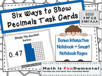 Six Ways to Show Decimals Task Cards