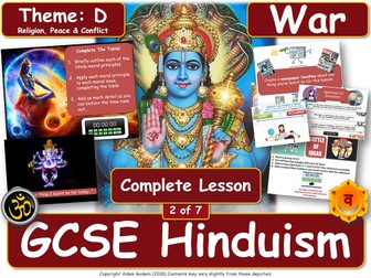 War & Just War - Hindu Views (GCSE RS - Hinduism - Peace & Conflict) L2/7 - Military Ethics