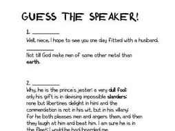 Much Ado About Nothing: Guess The Speaker