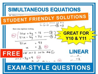 GCSE 9-1 Exam Question Practice (Simultaneous Equations)