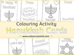 Hanukkah Card Templates - Colouring Activity