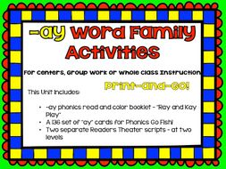 Phonics: phonograms: Word Family -ay Activities for Centers, Group or Whole Class Work