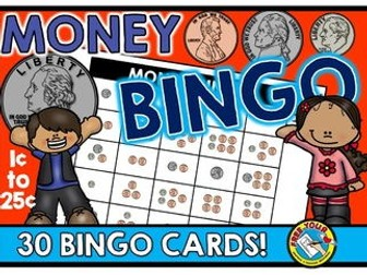 MONEY MATH GAME (MONEY BINGO COUNTING COINS GAME) MONEY ACTIVITIES