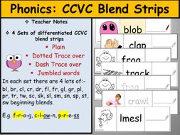 Consonant Blends - CCVC Differentiated Activity Card Strips-  Phase 4 CCVC