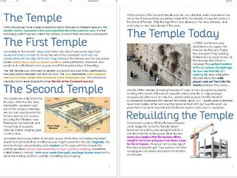 Judaism: The Temple Differentiated Task Sheets