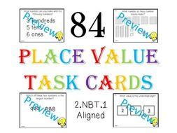 84 Place Value Task Cards - Little Prep Needed! CCSS 2.NBT.1