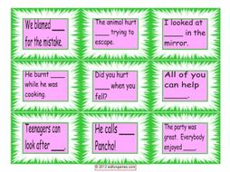 Reflexive and Reciprocal Pronoun Cards 4 Pages = 36 Cards