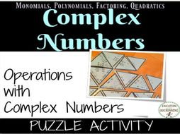 Operations with Complex Numbers Puzzle Activity for Algebra 2