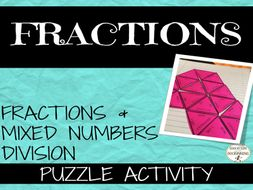 Fractions and Mixed Numbers: Fraction Division Practice and Review Puzzle Activity