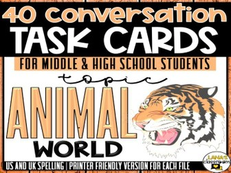 Conversation Starter Cards | Animals | Social Skills for Middle&High
