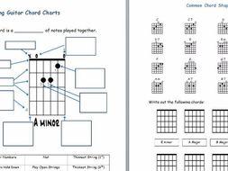 Guitar Chord Chart | Reading Guitar Chord Charts Worksheet By Bensulli Teaching