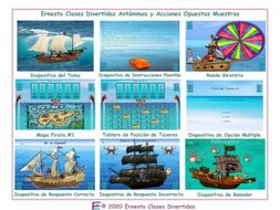 Antonyms and Opposite Actions Spanish Treasure Hunt Interactive PowerPoint Game