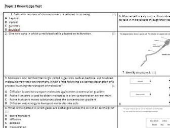Edexcel CB1 Biology Knowledge Assessment