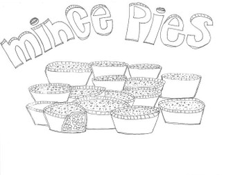 Mince Pies, Christmas Colouring Worksheet