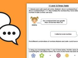 FREE Year 4 11 and 12 Times Table Spring Block 1 Maths Discussion Problem