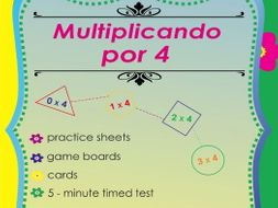 Multiplicando Por 4 - Spanish Multiplication Math Games and Lesson Plans