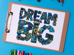"""""""Dream Big"""" Coloring Page for Kids and Adults 