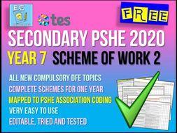 Year 7 PSHE Scheme of Work 2