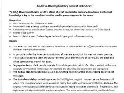 To Kill A Mockingbird Context Revision Sheet