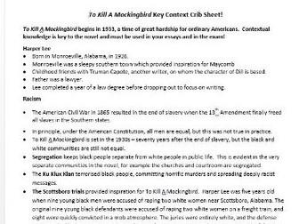 To Kill A Mockingbird Context Revision Sheet