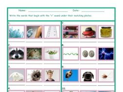 Phonics V Sound Photo Worksheet