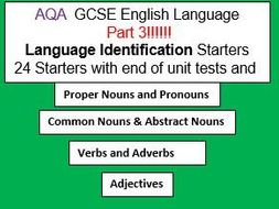 AQA GCSE English Language Paper 1 and 2 Language Identification Starters