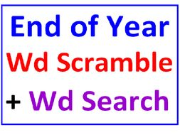 End of the Year Word Scramble PLUS Summer Word Search Puzzle