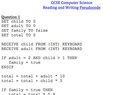 GCSE Computer Science: Tracing and debugging pseudocode worksheet