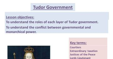 Elizabethan Government powerpoint & worksheet.