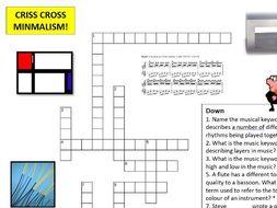 Minimalist Music: Criss Cross Puzzle - A Consolidating Activity (minimalism)