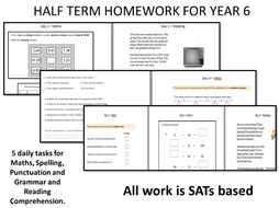 Half Term / End of Term / Easter Holiday  Year 6 Homework  - A SATs Based Booklet for Revision