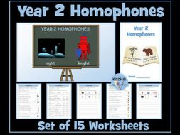 Homophones: Year 2 Worksheets