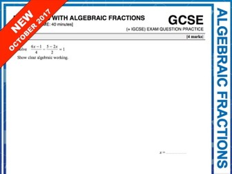 GCSE 9-1 Exam Question Practice (Equations with Algebraic Fractions)