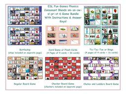 Phonics Consonant Blends sm-sn-sw-sl-pr-st 6 Game Bundle