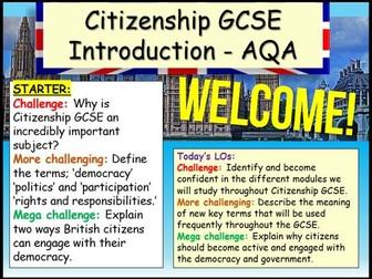 Citizenship GCSE Introduction AQA