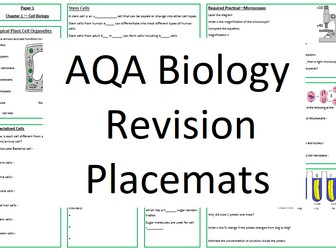 AQA Biology Revision Placemats