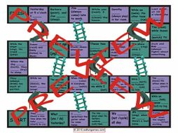 Past Continuous Tense Chutes and Ladders Board Game
