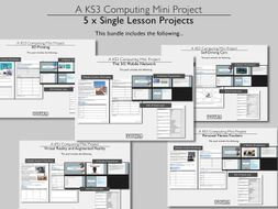 KS3 Computing / ICT / Computer Science 5 x Single Lesson Projects Bundle