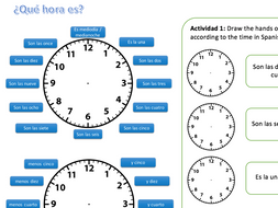qu hora es spanish ks3 worksheet telling the time reading and writing ppt available by. Black Bedroom Furniture Sets. Home Design Ideas