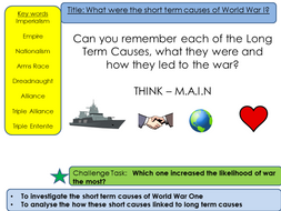 short term causes of world war one