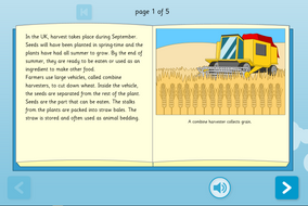 Harvest Interactive Information Book - Reading Level A - Harvest KS1