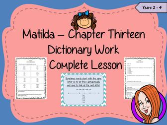 Dictionary Work Complete Lesson – Matilda