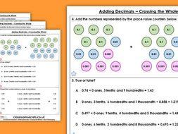 Year 5 Adding Decimals – Crossing the Whole Summer Block 1 Maths Homework Extension