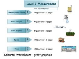 Measures Workbook - Worksheet Booklet - Functional Skills  Level 1 (with answers)